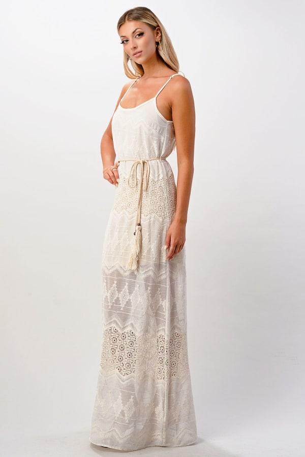Kaii Aztec Embroidered Maxi Dress