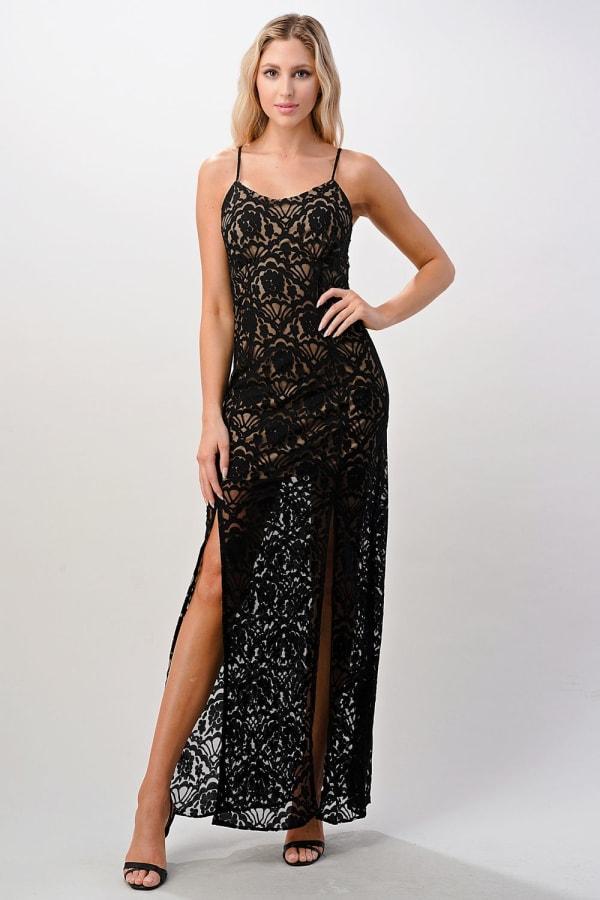 Kaii Front Slit Lace Maxi Dress - Black - Front