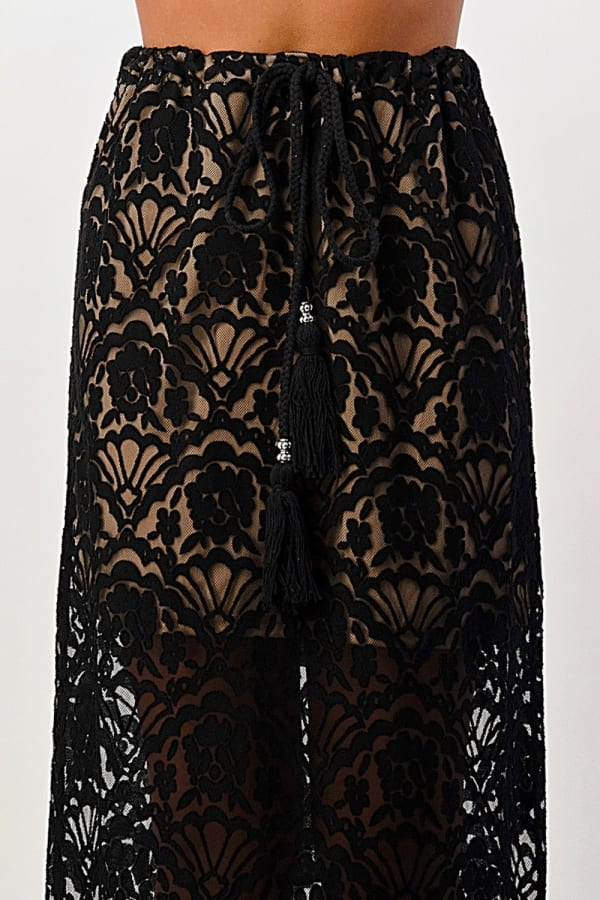 Kaii Lace Maxi Skirt With Cotton Core Bow