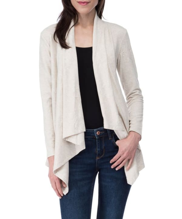 Amie French Terry Cardigan - Oatmeal Star - Front