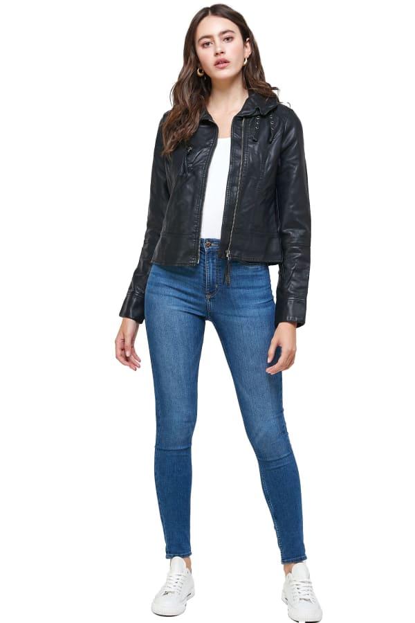 Kaii Double Buckle High-Neck Vegan Leather Biker Jacket