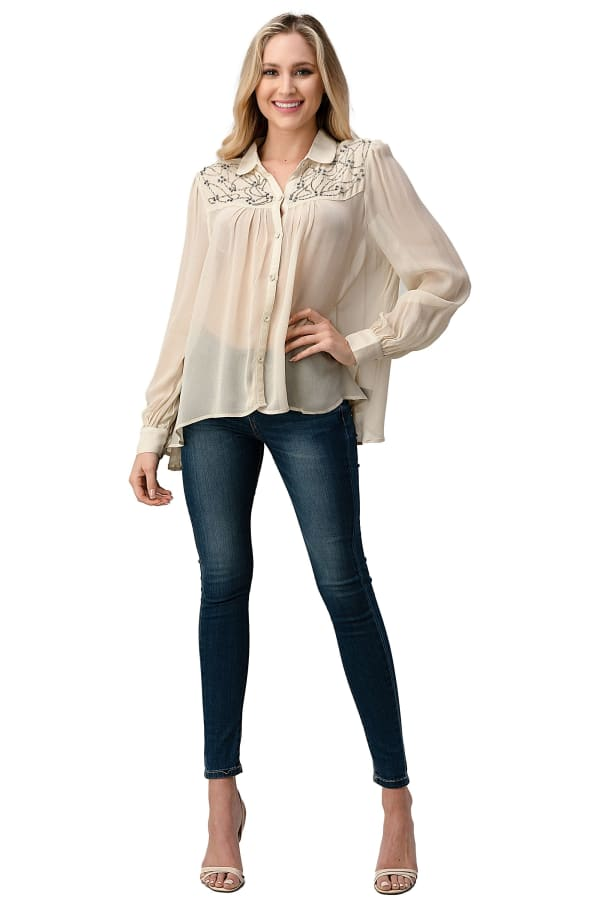 Kaii Beaded Jewel Trim Button Front High-Low Hem Shirt With Long Sleeves Blouse Top - Off White - Front