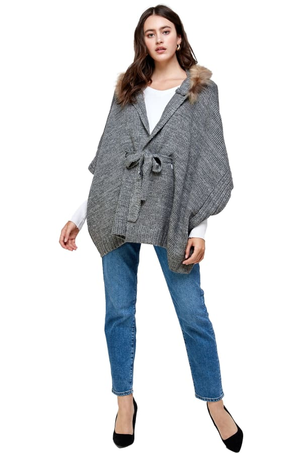 Kaii Hooded with Fur Trim Pancho Sweater