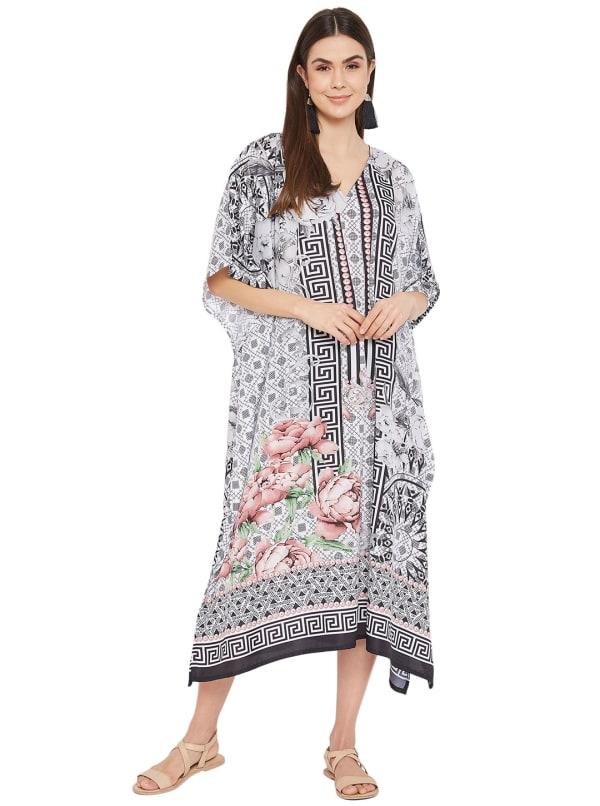 Black & Grey Kaftan Long Maxi Dress - Plus