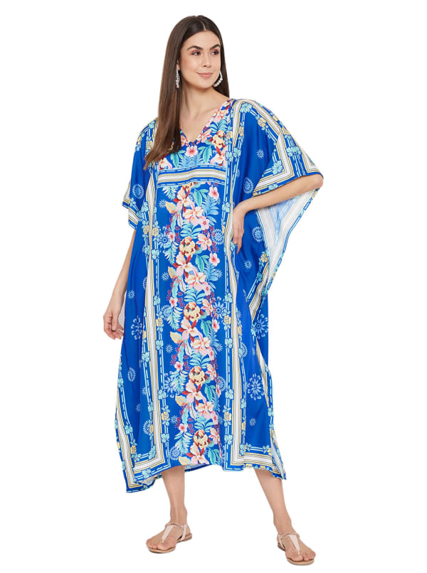 Royal Blue Kaftan Long Maxi Dress - Plus