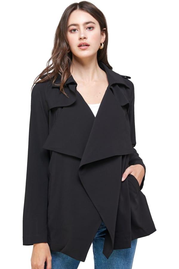 Kaii Draped Collar Trench Coat Jacket