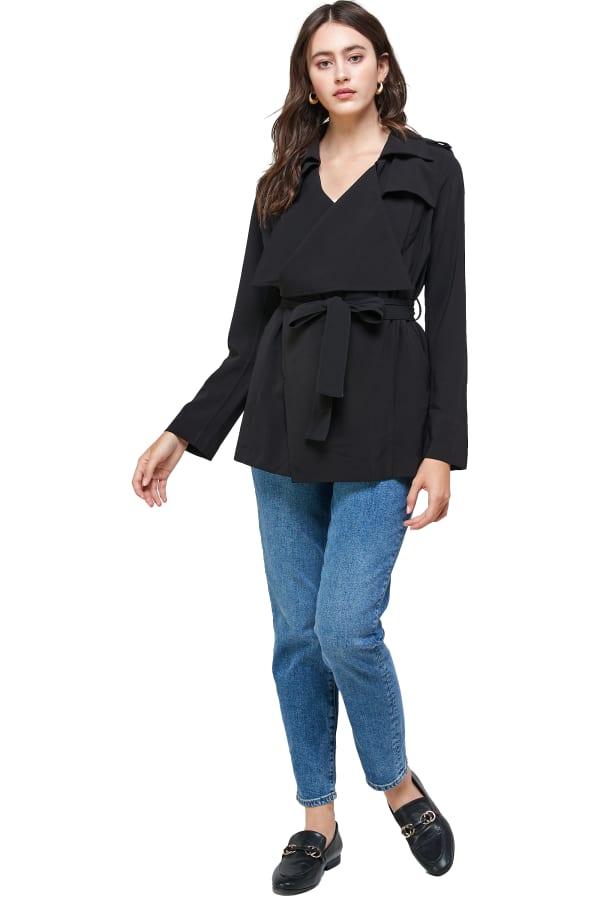 Kaii Draped Collar Trench Coat Jacket - Black - Front