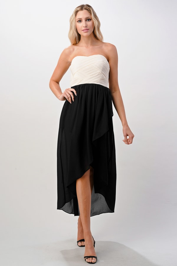 KAII Crystal Pleated High-Low Maxi Dress