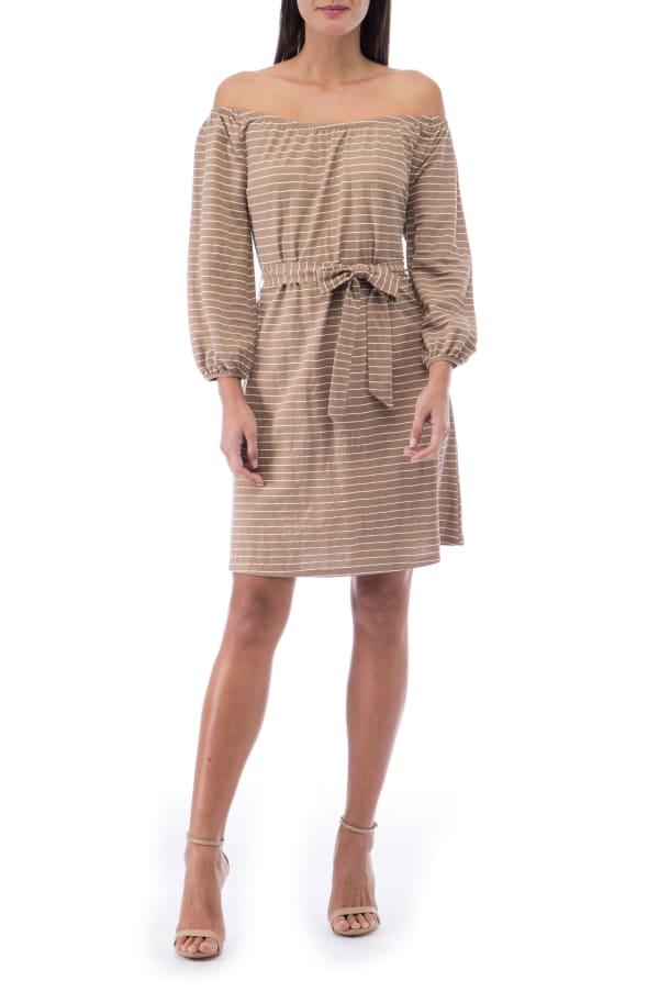 Gertrude Pique Knit Off The Shoulder Dress - Mocha Stripe - Front