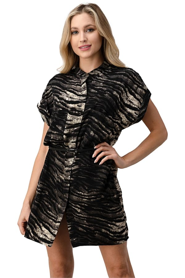 Kaii Button Front With Dropped Shoulder Short Sleeves Belted Dress - Black - Front