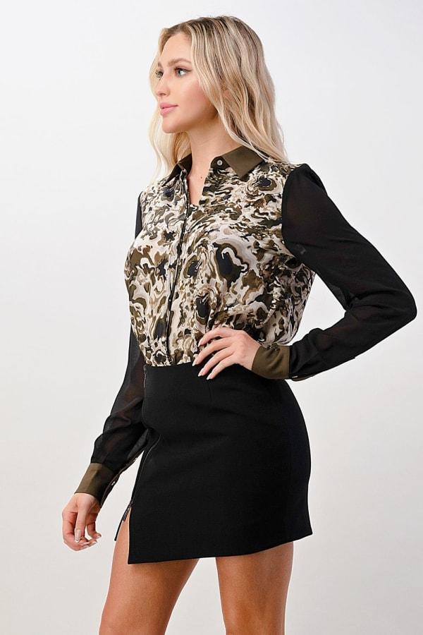 Kaii Wavy Marble Printed 100% Silk Shirt - Olive / Black - Front
