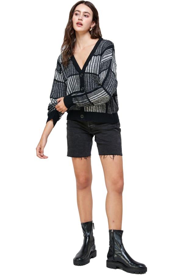 Kaii Open Back Studded Sweater - Black - Front