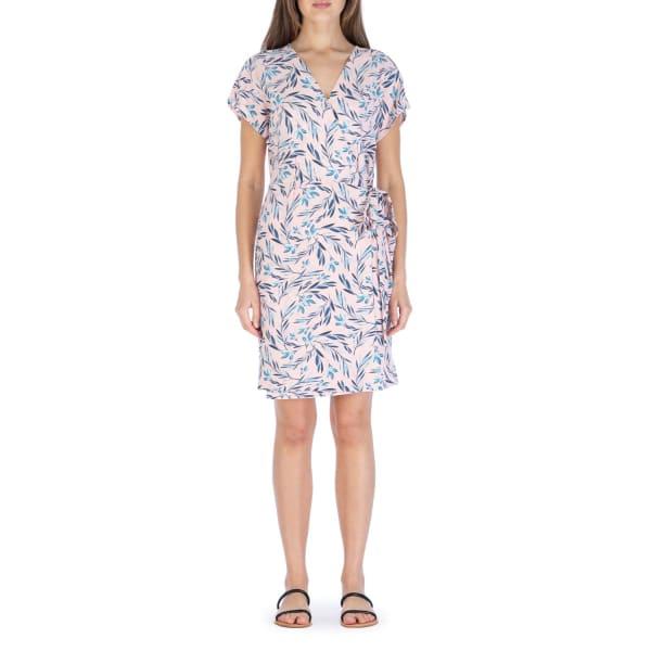 Short Sleeve Crepe Wrap Dress - Blush / Denim Tropical - Front