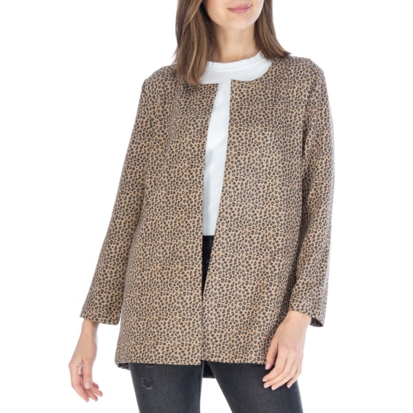 Faux Suede Open Front Long Sleeve Jacket - Brown Leopard - Front