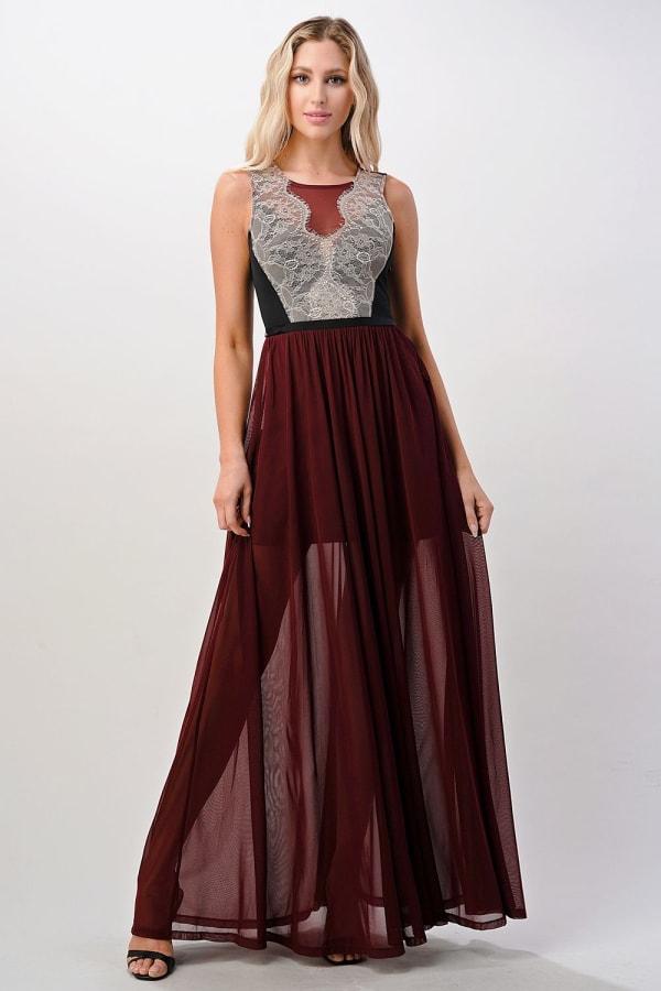 Kaii Contrast Lace Overlap Maxi Dress