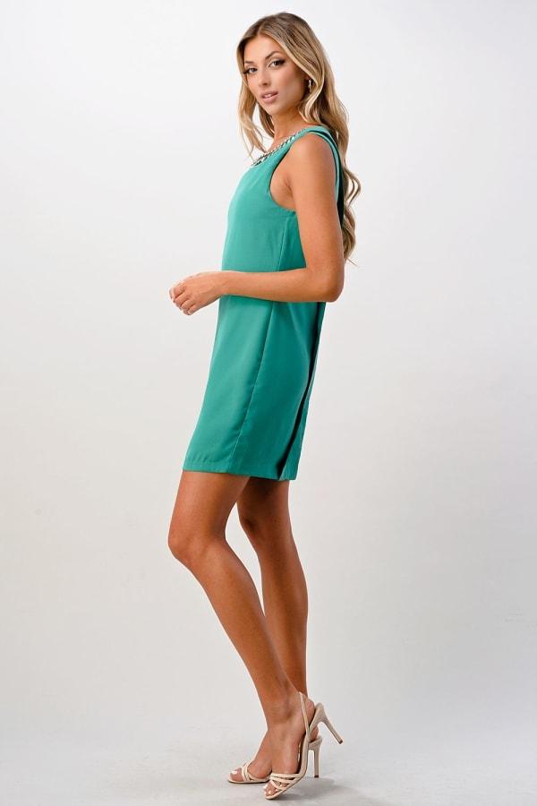 Kaii Jeweled Neck Detail Dress - Jade - Front