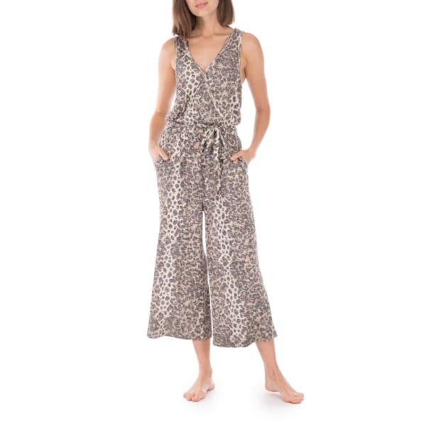 Jordyn Ribbed Knit Jumpsuit - Brown Animal - Front