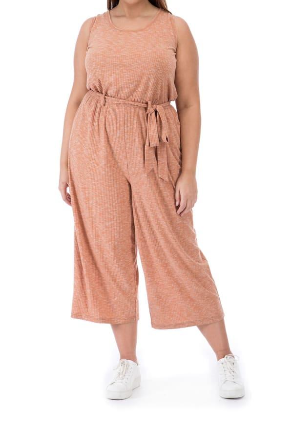Devin Knit Jumpsuit - Plus - Hazel - Front