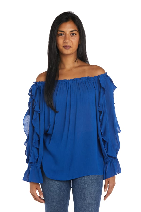 """Westport """"On And Off The Shoulder"""" Ruffle Sleeve Blouse - Royal Blue - Front"""