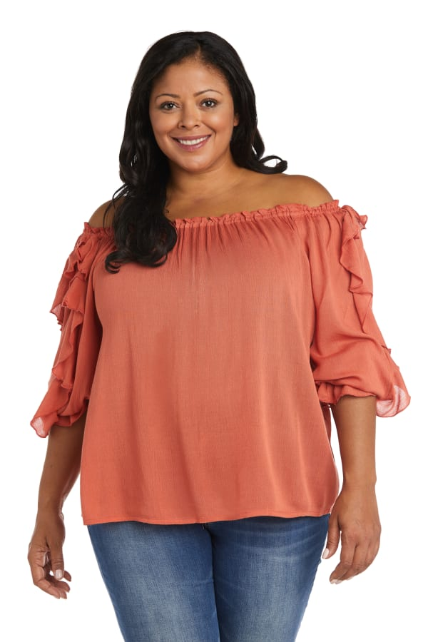 """Westport """"On And Off The Shoulder"""" Ruffle Sleeve Blouse - Plus"""