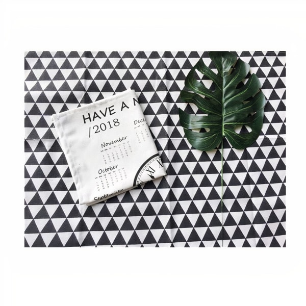 Kenia Placemat Set - Black / White - Front