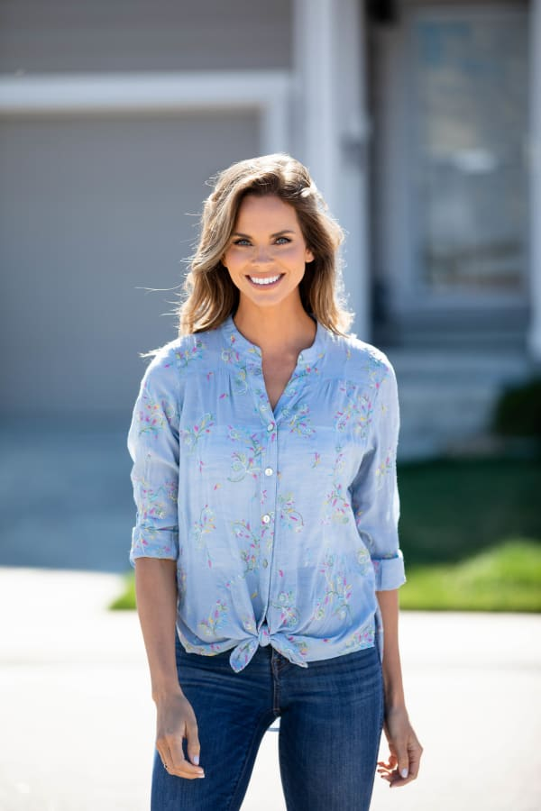 Chambray Embroidered Button Front Shirt - Misses