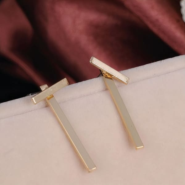 Lines Earrings - Gold - Front