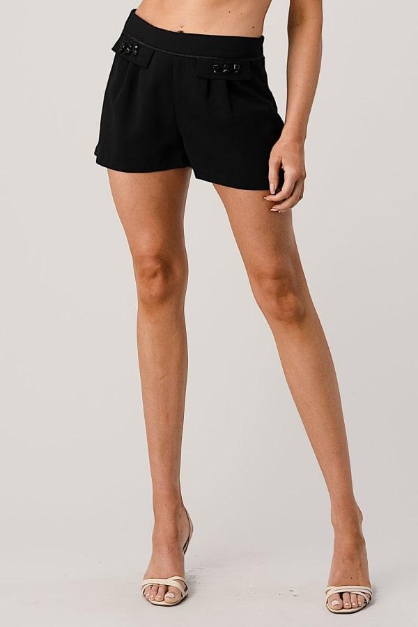 Kaii Rhine Stone Pocket Detail Shorts - Black - Front
