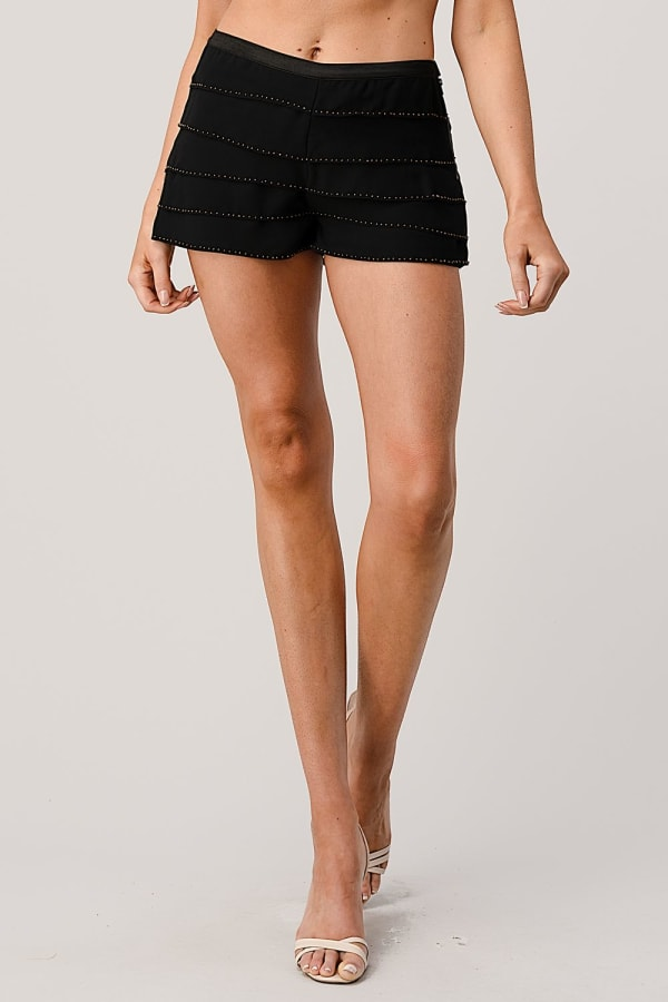 Kaii Beaded Scalloped Hem Shorts - Black - Front
