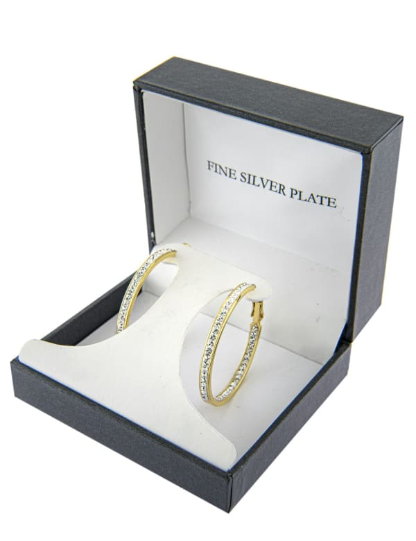 Boxed Gold Over Fine Silver Plated 35mm Crystal Clutchless Hoops - Gold - Front