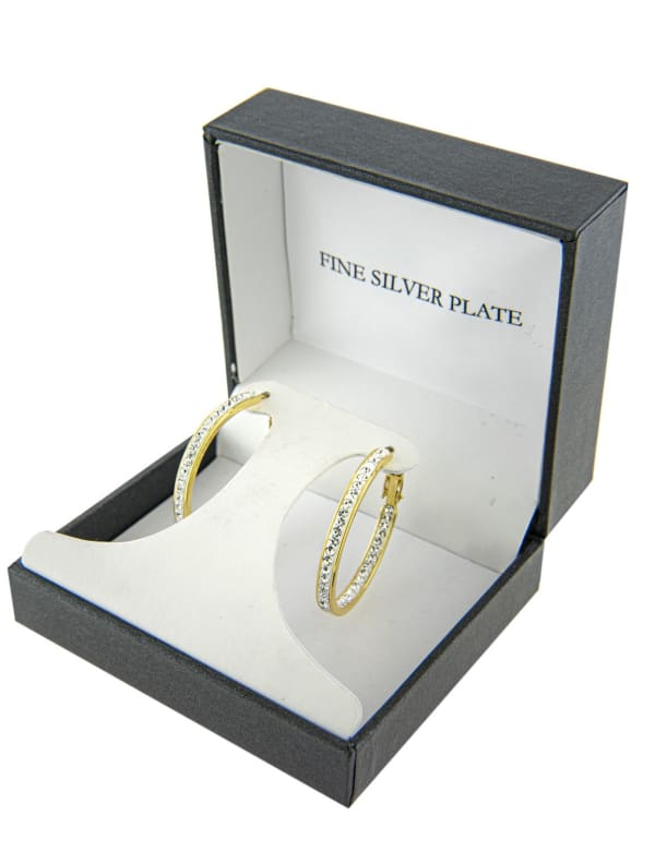 Boxed Gold Over Fine Silver Plated 30mm Crystal Clutchless Hoops - Gold - Front