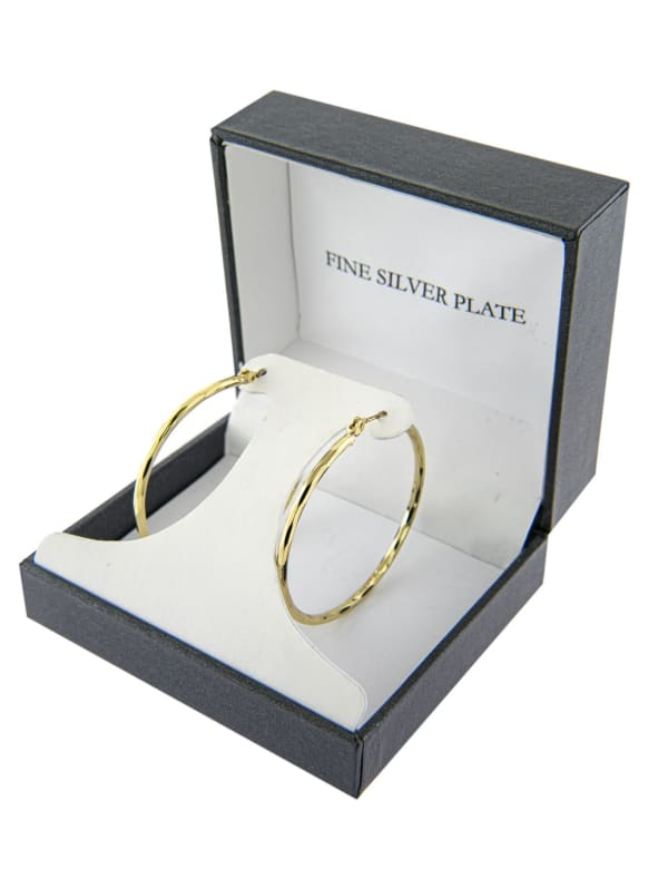 Boxed Gold Over Fine Silver Plated 40mm Diamond Cut Hoops - Gold - Front