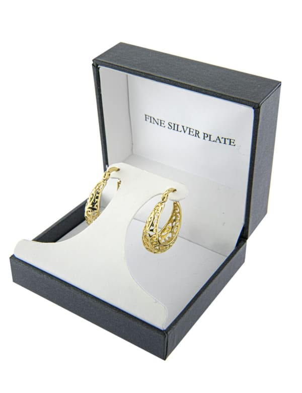 Boxed Gold Over Fine Silver Plated 22mm Filigree Hoops - Gold - Front