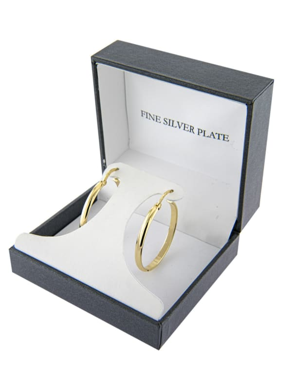 Boxed Gold Over Fine Silver Plated 32mm Clicktop Hoops - Gold - Front