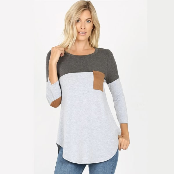 Colorblock Round Neck Pocket Top - Charcoal - Front