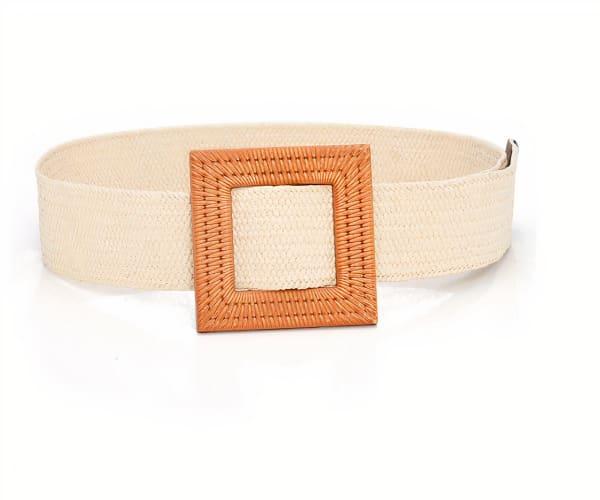 Square Adjustable Belt - Ivory - Front