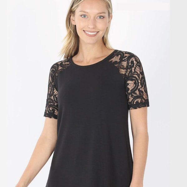 Short Sleeve Round Neck Lace Top - Black - Front