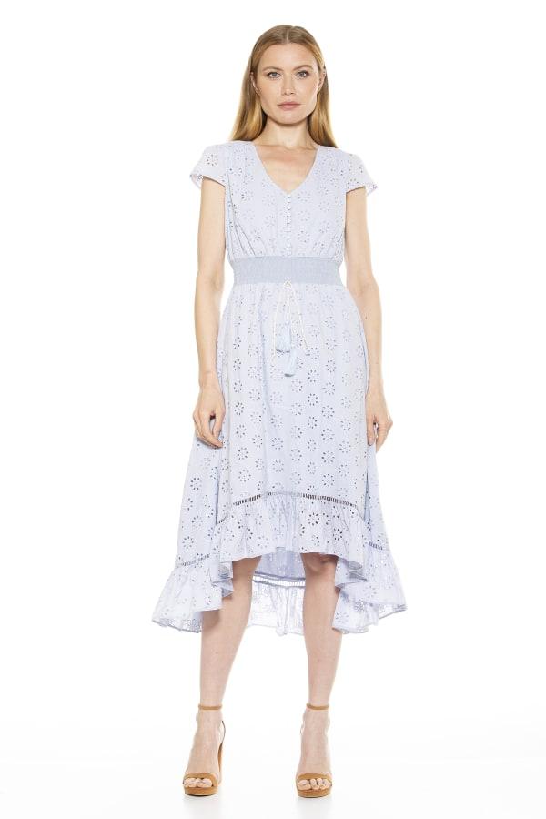 Minnie V Neck Eyelet Dress - Halogen Blue - Front