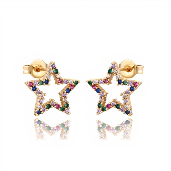 Pia Gold Plated Star Stud Earrings - Gold - Front
