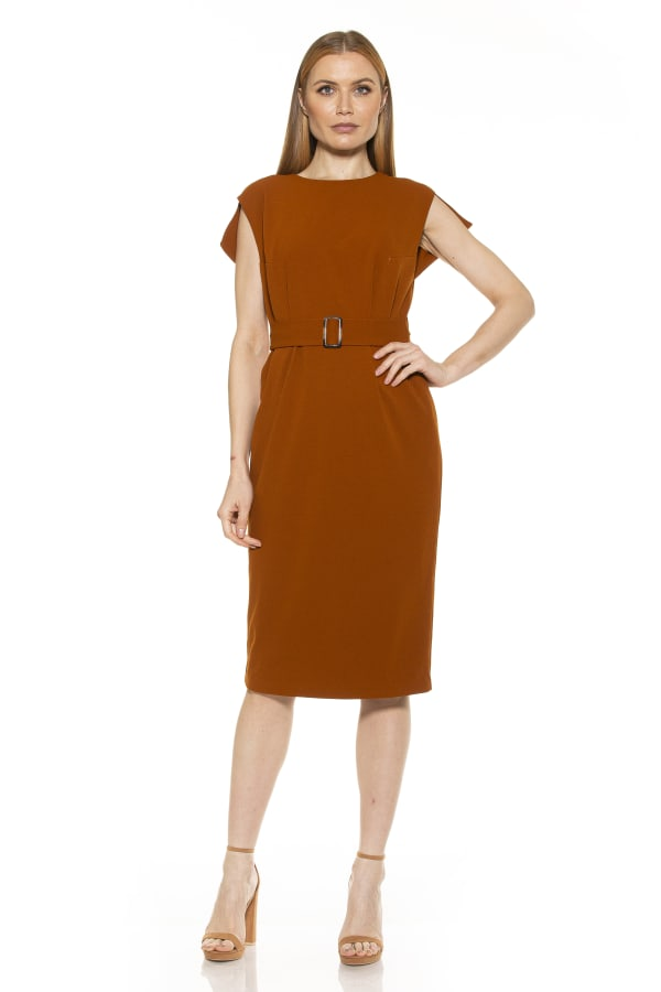 Belted Crewneck Sheath Dress - Cafe - Front