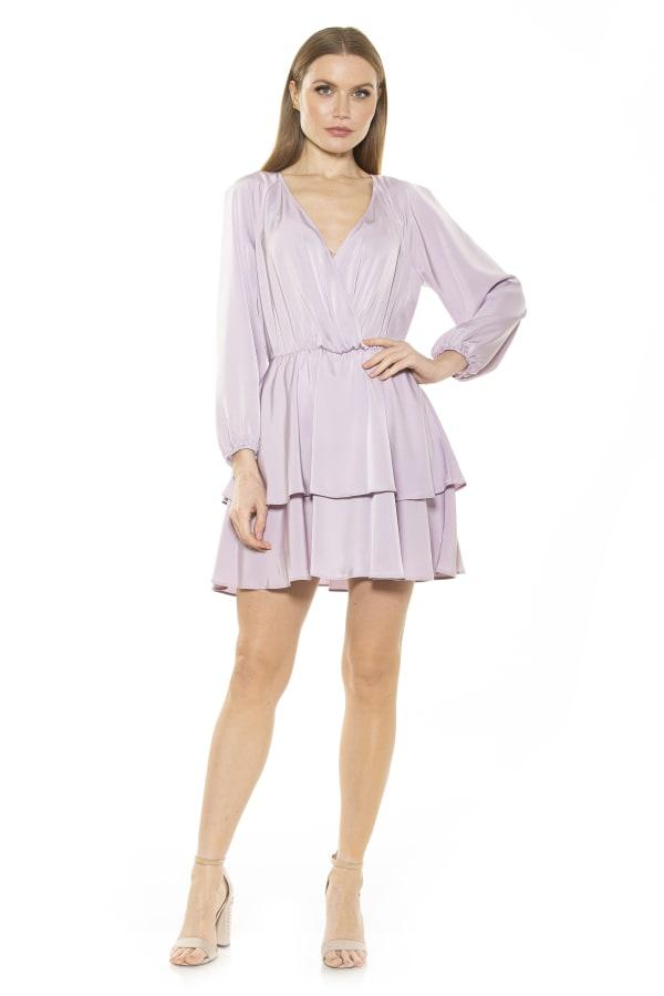 Layla Raglan V Neck Tiered Ruffle Dress - Lilac - Front