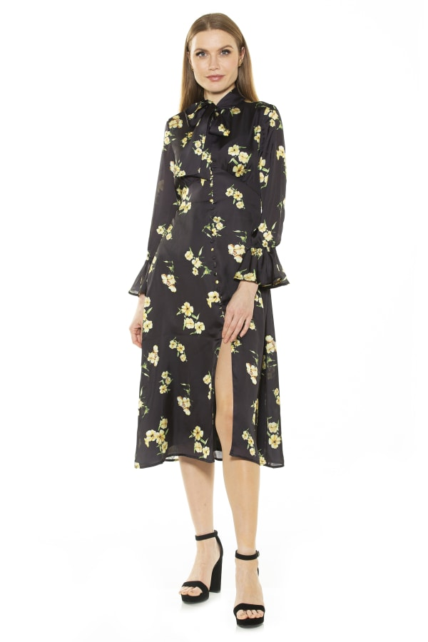 Gemma Bow Tie Button Down Dress - Yellow Floral - Front