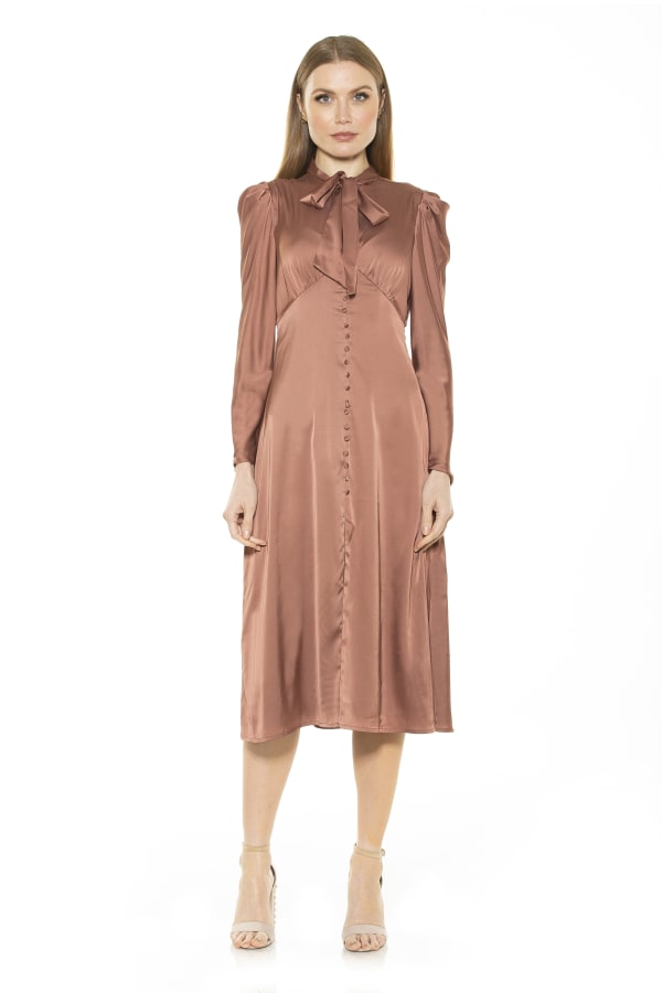 Vicki Bow Tie Puff Sleeves Button Down Dress
