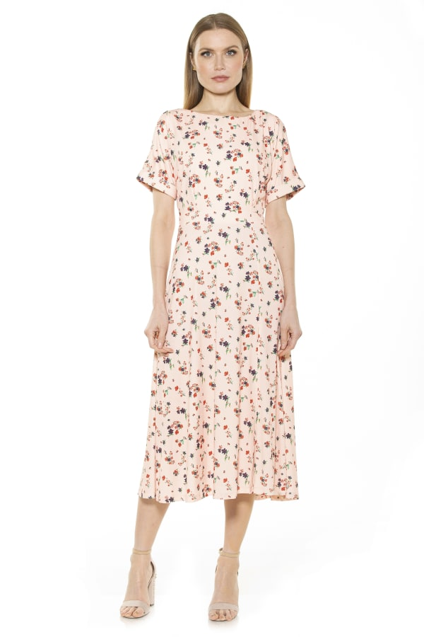Lana Draped Bodice Midi Dress With Slit - Floral / Bouquet - Front