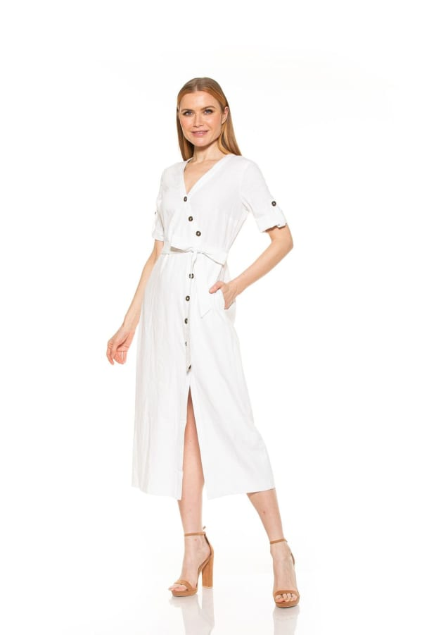 Collete Asymmetric Button Dress - Ivory - Front