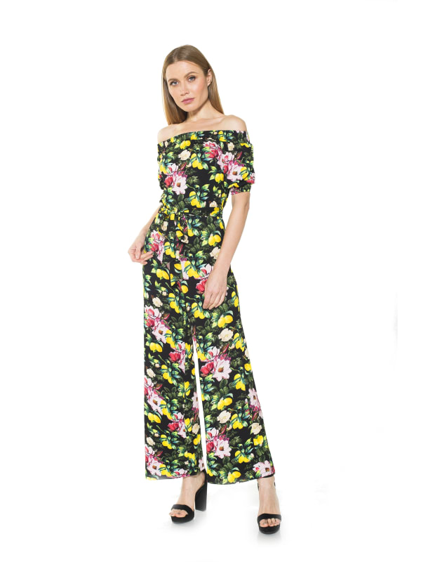 Brea Ots Knit Jumpsuit with Belt - Black Lemon - Front