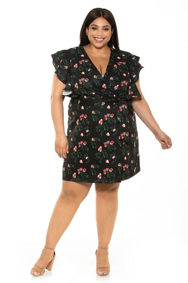 Ada Ruffle Sleeve Wrap Dress With Waist Tie - Plus - Mini Rose - Front
