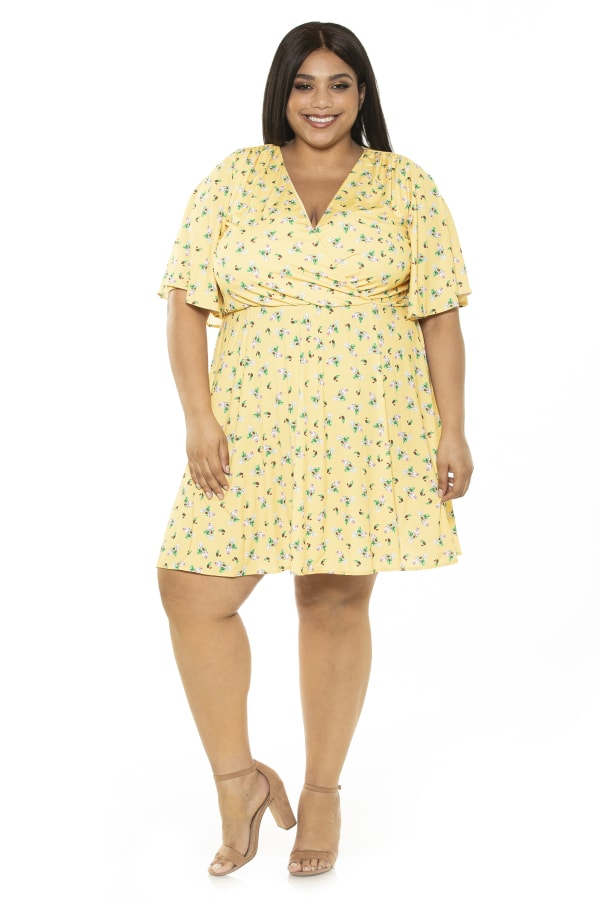 Oak less Flutter Sleeve Fit And Flare Dress- Plus - Yellow / Ditzy - Front