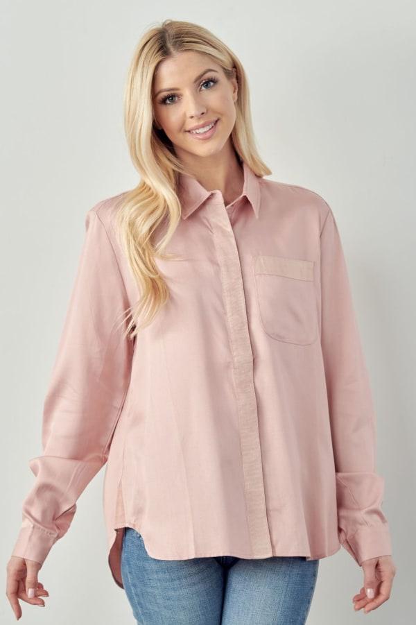 Tamara Tencel Shirt - Blush - Front