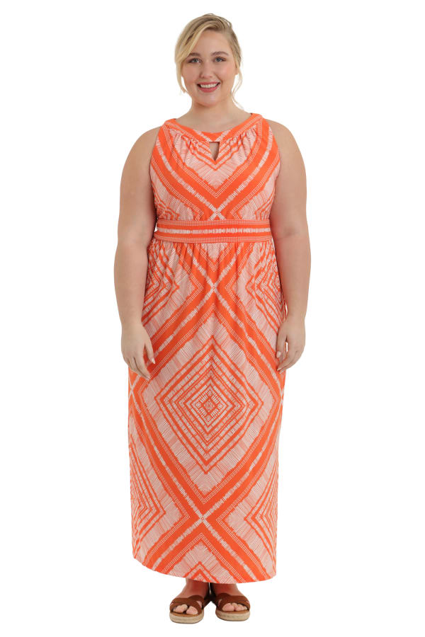 Megan Halter Diamond Print Maxi Dress - Plus - Orange - Front